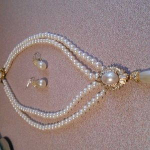 VINTAGE  DOUBLE PEARL STRANDS WITH DROPLET